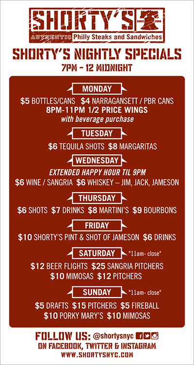 Shorty's nightly specials